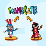 Translation concept english spanish people cartoon Stock Photography