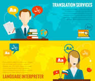 Translation and dictionary banners set flat Stock Image
