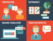 Translation and dictionary concepts in flat style Royalty Free Stock Photos