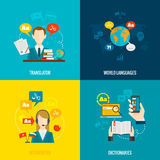 Translation and dictionary flat icons Royalty Free Stock Images