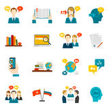 Translation And Dictionary Icons Set Royalty Free Stock Image