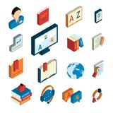 Translation and dictionary icons set. Online english german translation service website applications flat isometric icons set with interpreter headset isolated stock illustration
