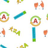 Translation elements pattern, cartoon style Royalty Free Stock Photos