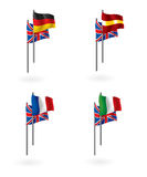 Translation from english flags. Illustration of flags as icons to represent translation of languages from english to spanish, german, french and italian Royalty Free Stock Image