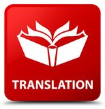 Translation red square button Royalty Free Stock Image