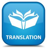 Translation special cyan blue square button Stock Image