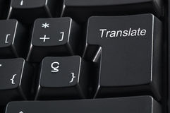 Translation keyboard. Computer keyboard with the word translate instead of the Enter key Stock Images