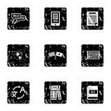 Translation of language icons set, grunge style Royalty Free Stock Images
