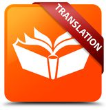 Translation orange square button red ribbon in corner. Translation isolated on orange square button with red ribbon in corner abstract illustration Royalty Free Stock Image