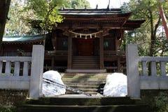 Translation: `Oyama Shrine`. It was covered by light snow. Taken in Kanazawa, Japan - February 2018 stock images