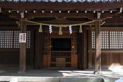 Translation: `Oyama Shrine`. It was covered by light snow. Taken in Kanazawa, Japan - February 2018 stock photo