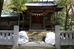 Translation: `Oyama Shrine`. It was covered by light snow. Taken in Kanazawa, Japan - February 2018 stock photography