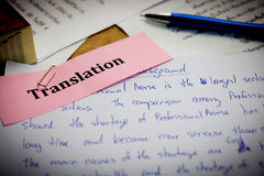 Translation paper on wooden desk Royalty Free Stock Image