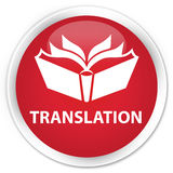 Translation premium red round button Stock Photography