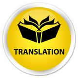 Translation premium yellow round button Stock Image