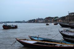 Translation: The scenery of Varanasi`s ghats by the Ganges royalty free stock photography