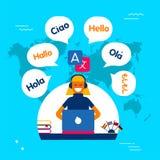 Internet translation communication service concept. Translation service online concept illustration. Girl on computer using translating app in social media site Stock Photos