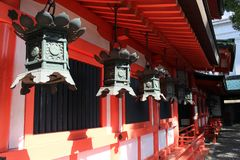 Translation: A small Shinto shrine in the middle of Nagoya city. Center. Taken in Japan, February 2018 stock photography