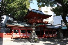 Translation: A small Shinto shrine in the middle of Nagoya city. Center. Taken in Japan, February 2018 stock images