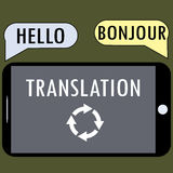 Translation from a smartphone. Royalty Free Stock Image