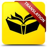 Translation yellow square button red ribbon in corner Stock Photo