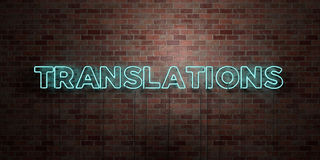 TRANSLATIONS - fluorescent Neon tube Sign on brickwork - Front view - 3D rendered royalty free stock picture Stock Images