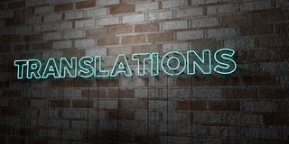 TRANSLATIONS - Glowing Neon Sign on stonework wall - 3D rendered royalty free stock illustration Royalty Free Stock Photos