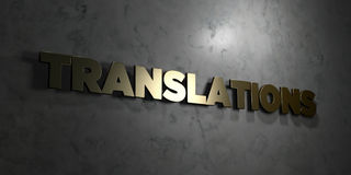 Translations - Gold text on black background - 3D rendered royalty free stock picture Royalty Free Stock Image