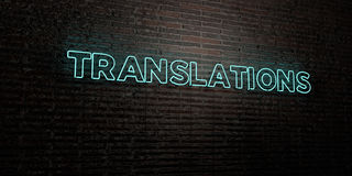 TRANSLATIONS -Realistic Neon Sign on Brick Wall background - 3D rendered royalty free stock image Royalty Free Stock Photography