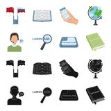 A translator in headphones, a magnifying glass showing translation, a button with an inscription, a book with a bookmark. Interpreter and translator set Stock Image
