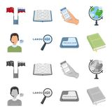 A translator in headphones, a magnifying glass showing translation, a button with an inscription, a book with a bookmark. Interpreter and translator set Stock Photography
