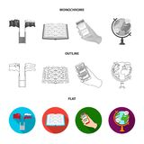 A translator in headphones, a magnifying glass showing translation, a button with an inscription, a book with a bookmark. Interpreter and translator set Royalty Free Stock Photos