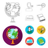 A translator in headphones, a magnifying glass showing translation, a button with an inscription, a book with a bookmark. Interpreter and translator set Stock Images