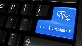 247. Translator Moving Motion On Computer Keyboard Button. 247. Translator Moving Motion On Blue Enter Button On Modern Computer Keyboard with Text and icon stock illustration
