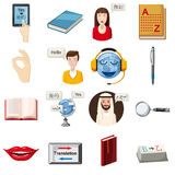 Translator profession icons set, cartoon style. Translator profession tools set. Cartoon illustration of 16 translator profession vector icons for web Royalty Free Stock Photo