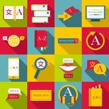 Translator profession icons set, flat style Stock Photo