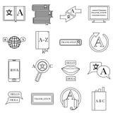 Translator profession icons set, outline style Stock Photography