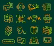 Translator profession icons set, outline style Stock Photos