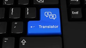 248. Translator Rotation Motion On Computer Keyboard Button. 248. Translator Rotation Motion On Blue Enter Button On Modern Computer Keyboard with Text and icon royalty free illustration