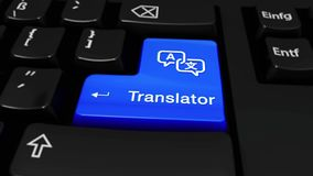 249. Translator Round Motion On Computer Keyboard Button. 249. Translator Round Motion On Blue Enter Button On Modern Computer Keyboard with Text and icon royalty free illustration