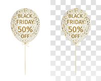 Translucent balloon with gold spangles with the inscription Black Friday 50 percent off. Decorative element to illustrate sales. Promotional banner for season stock illustration