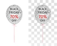 Translucent balloon with gold spangles with the inscription Black Friday 70 percent off. Translucent balloon with black white spangles with the inscription Black stock illustration