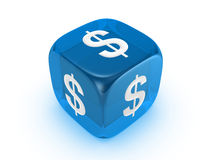 Translucent blue dice with dollar sign Stock Photography