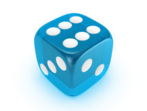 Translucent blue dice on white background. Blue translucent dice isolated on white background Royalty Free Stock Images