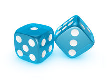 Translucent blue dice on white background. Blue translucent dice isolated on white background Stock Photography