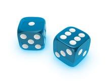 Translucent blue dice on white background. Blue translucent dice isolated on white background royalty free stock image
