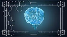 Translucent brain rotating against dark background