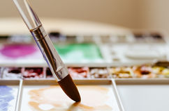 Translucent Brush and Palette Paint. Translucent brush taking water color from palette paint Royalty Free Stock Photo