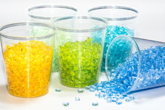 Translucent dyed plastic resins Stock Images