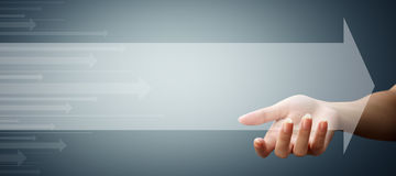 Translucent empty arrows in the hands Royalty Free Stock Photography